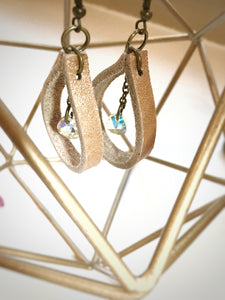 Metallic Copper Leather Hoop Earrings with Swarovski Crystals - The Branded Branch