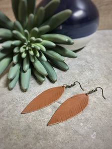Cognac feathered leather leaf earrings - The Branded Branch