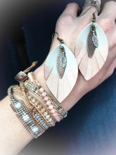 Feathered Leather Leaf in gray with Rose Gold + Metal leaf accent - The Branded Branch
