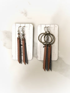 leather earrings, boho style, leather jewelry, leather tassel earrings, crystal earrings