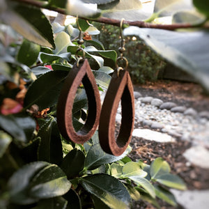 Brown Leather Teardrop Loop Earring - The Branded Branch