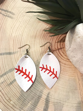Baseball Leather Earrings - The Branded Branch