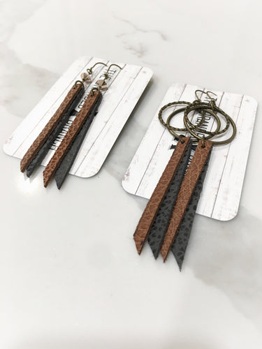 Leather earrings, light weight, boho style