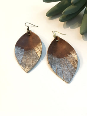 Feathered leather leaf earrings in brown with Gold accent - The Branded Branch