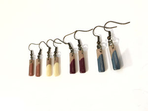 Short - Classic wood dipped pendant earrings - The Branded Branch