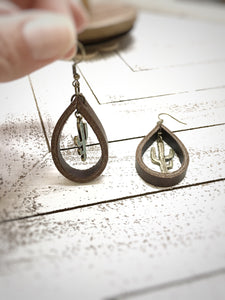 Cactus Leather teardrop earrings - The Branded Branch