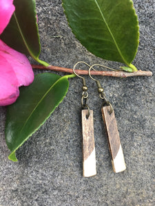 GOLD - Long - Classic wood dipped rectangle earrings - The Branded Branch