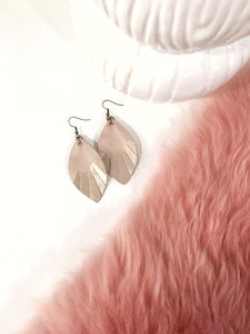 Blush Leather Feathered Leaf Earrings with gold accent