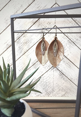 Feathered Leather Leaf Earrings in Tan +Gold with metal leaf accent - The Branded Branch