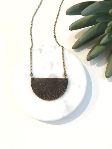 Embossed leather half circle pendant necklace - The Branded Branch