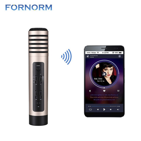 FORNORM Wireless Karaoke Microphone Professional Handheld Microphone Bluetooth Speaker For Car Smartphone Speaker PC Or Tablet