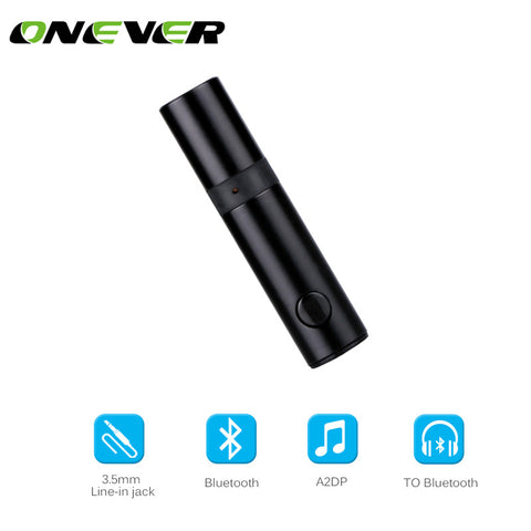 Onever Mini Wireless Bluetooth Car Kit Hands free 3.5mm Jack Bluetooth Audio Receiver Adapter AUX with Mic for Speaker Headphone