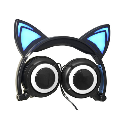 Lovely Cat Ear Headphones Foldable Wired Over Ear Kids Glowing Light Headphone Headsets For Girls Children