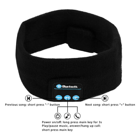 Wireless Bluetooth Stereo Music Sports Headband Audio Speaker Sweatband Headwear Strap USB Rechargeable for Sport Running Yoga