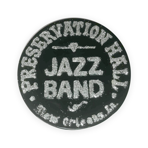 Drum Logo Plaque - Silver Glitter / Black