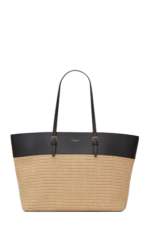Saint Laurent Boucle Medium E/W Shopping Bag in Raffia and Smooth Leather