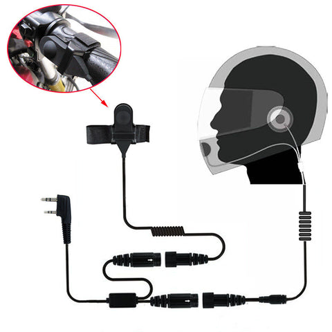 2 PIN Full Face Close Helmet Motorcycle Headset Earpiece | K Plug - Radioddity