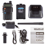 Baofeng UV-5R [5 Pack + Cable] | Dual Band | 4/1W | 128CH | Flashlight | VOX | Alert - Radioddity