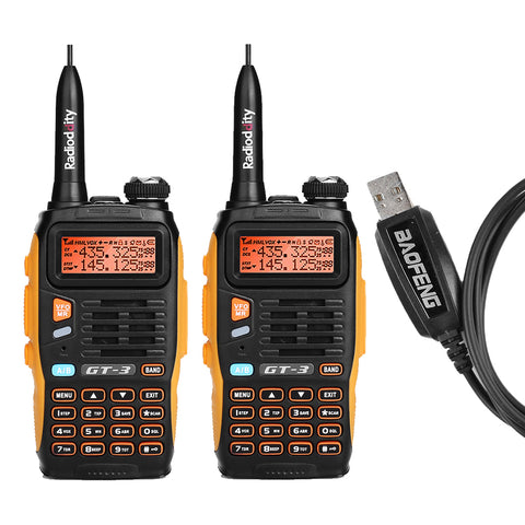 Baofeng GT-3 Mark II [2 Pack + Cable] | Dual Band | 5W | Better Antenna | Flashlight - Radioddity