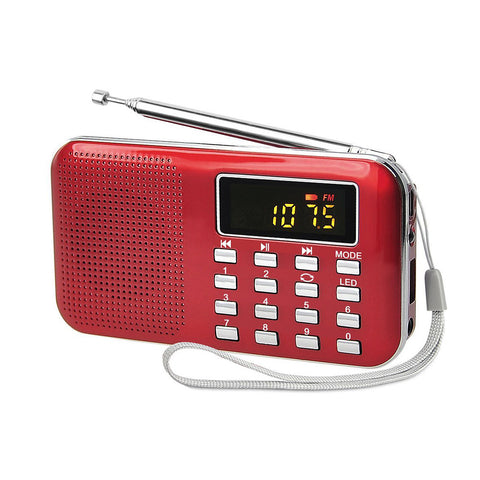 Radioddity L-908 Mini Digital FM LCD Radio, Red [DISCONTINUED] - Radioddity