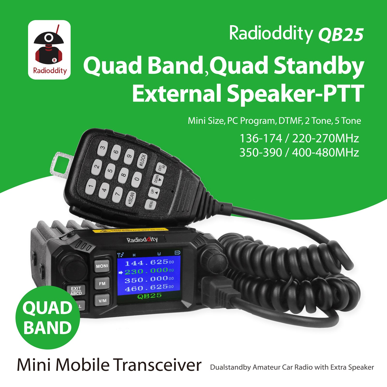 QB25 Quad Band Quad-standby Mini Mobile Radio+ Cable
