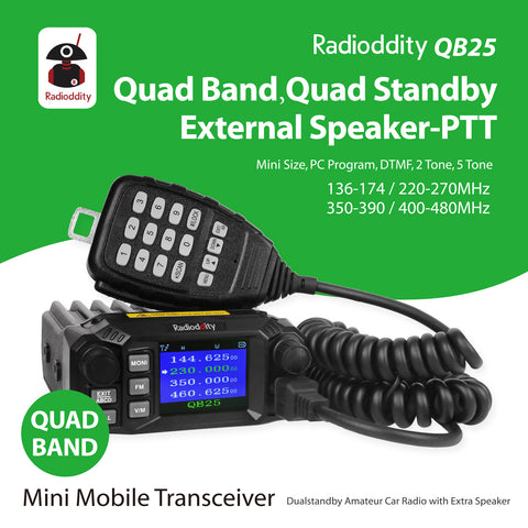 QB25 Pro Quad Band Mini Mobile Radio+ Cable + 50W Antenna