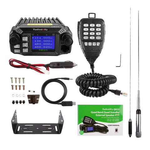 QB25 Pro Quad Band Mini Mobile Radio+ Cable + 50W Antenna - Radioddity