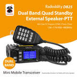 DB25 Pro Dual Band Quad-standby Mini Mobile Radio + 50W Antenna + Cable - Radioddity