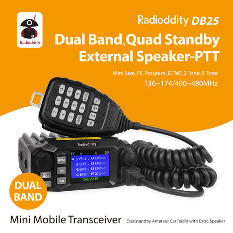 DB25 Pro Dual Band Quad-standby Mini Mobile Radio + 50W Antenna