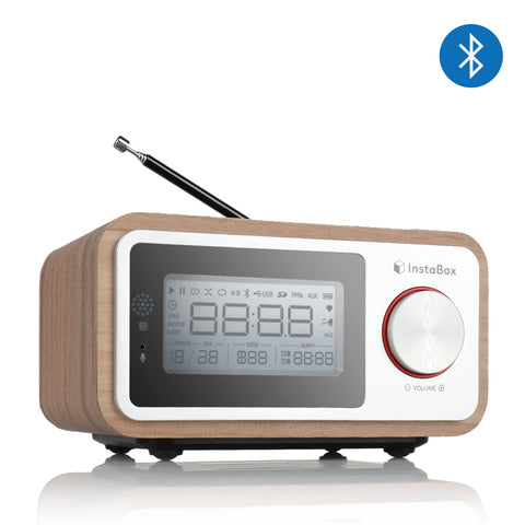 Instabox i30 Wooden Clock Radio & Bluetooth Speaker - Radioddity