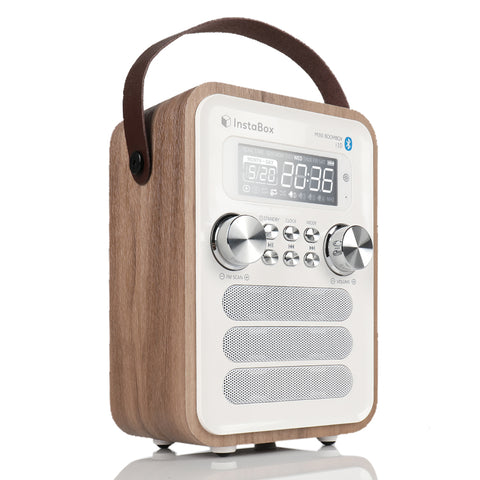 InstaBox i10 Wooden FM Clock Radio & Bluetooth Speaker - Radioddity