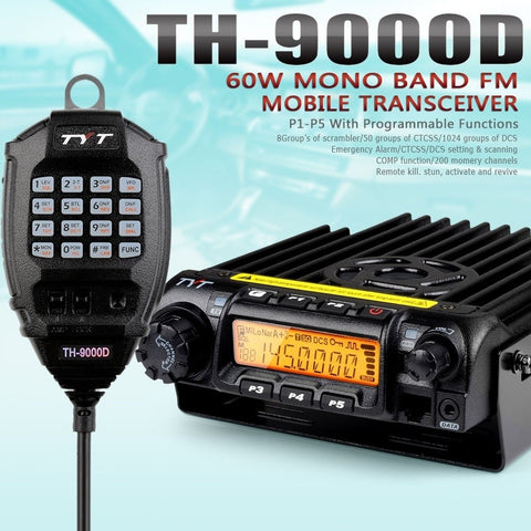 TYT TH-9000D 220-260MHz 60W Car Truck Mobile Two-Way Radio - Radioddity