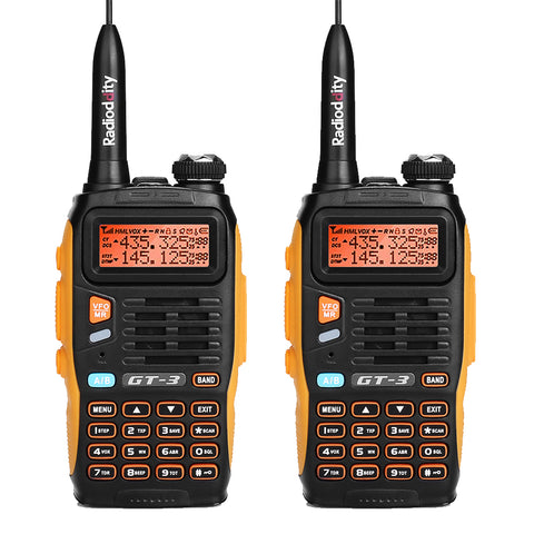 Baofeng GT-3 Mark II [2 Pack] | Dual Band | 5W | Better Antenna | VOX | Flashlight - Radioddity