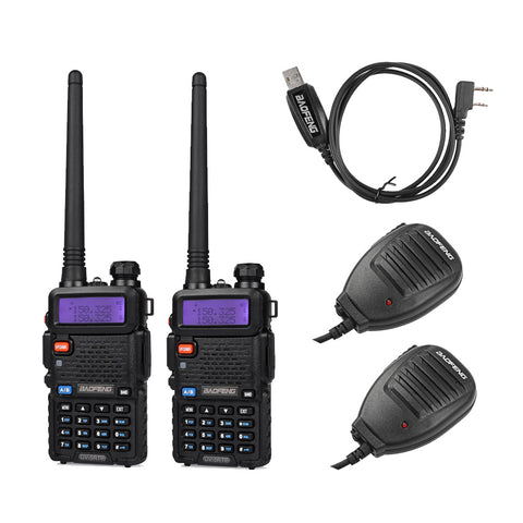 Baofeng UV-5RTP Transceiver [2 Packs] + 2 Speaker Mic + 1 Cable - Radioddity