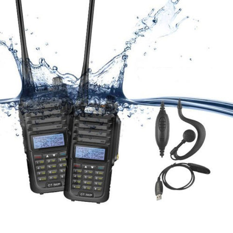 2 pcs x Baofeng GT-3WP Waterproof Two Way Radio + 1 x Programming Cable - Radioddity
