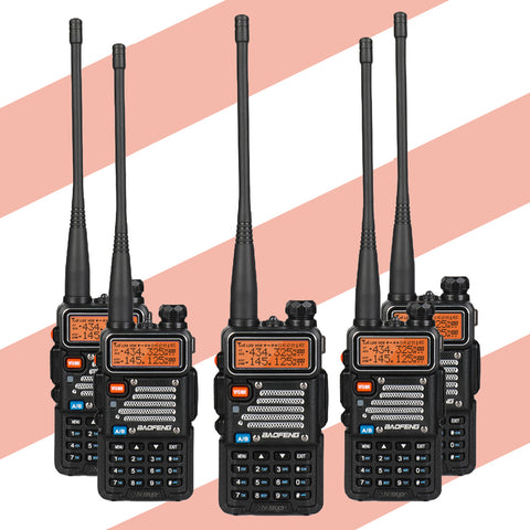 Baofeng UV-5RX3 [5 Packs] | Tri-band 1.25M | Tri-color LCD | 2 Antennas | with Cable - Radioddity