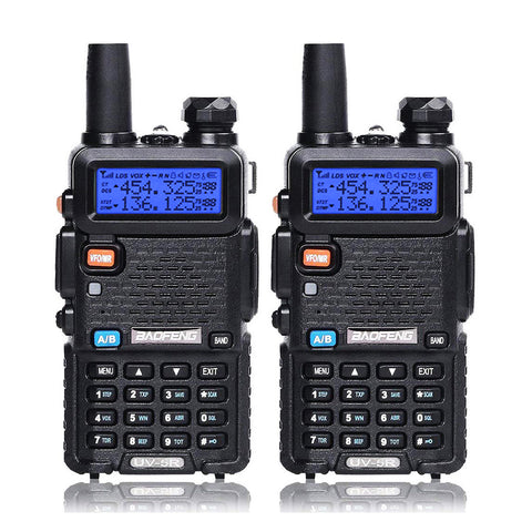 Baofeng UV-5R [2 Pack] | Dual Band | 4/1W | 128CH | Flashlight | VOX | Alert