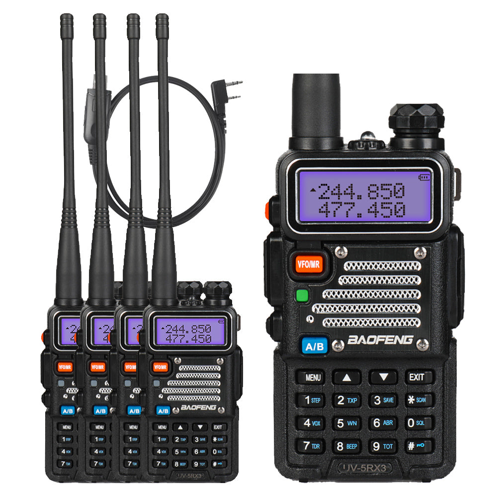 Baofeng UV-5RX3 [5 Packs] | Tri-band 1 25M | Tri-color LCD | 2 Antennas |  with Cable