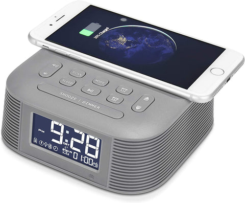 InstaBox D10 Wireless Charging Digital Alarm Clock FM Radio - Radioddity