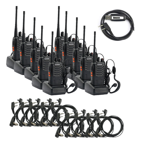 Baofeng BF-888S [10 Pack + 10 Acoustic Earpiece + Cable]