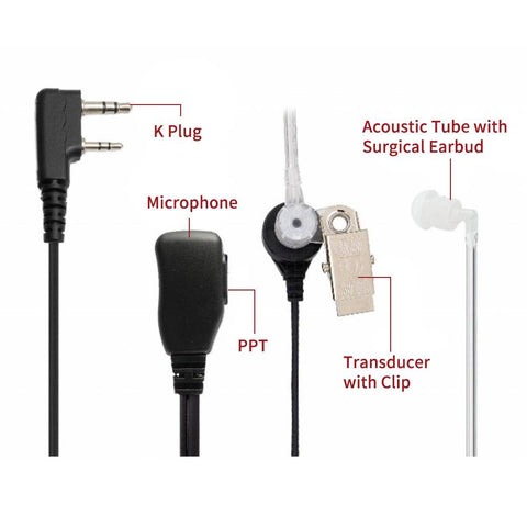 Radioddity 2-Pin Covert Acoustic Tube Earpiece Headset | PTT MIC | K Plug - Radioddity
