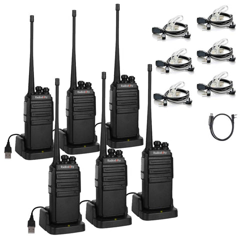 GA-2S UHF Walkie Talkie VOX Squelch [6 Pack+Cable] - Radioddity