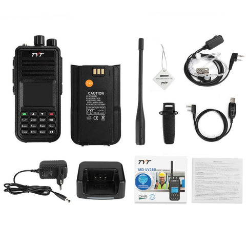 TYT MD-UV380G | Dual Band | GPS DMR | 2000mAh | Cable & Tube Earpiece - Radioddity