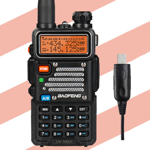 Baofeng x Radioddity UV-5RX3 | Tri-band 1.25M | Tri-color LCD | 2 Antennas | with Cable