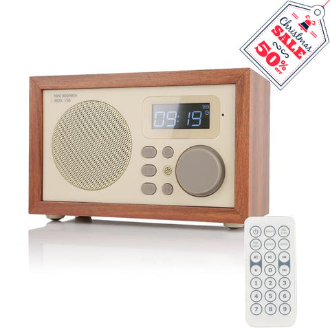 InstaBox i50 Wooden FM Clock Radio & Bluetooth Speaker