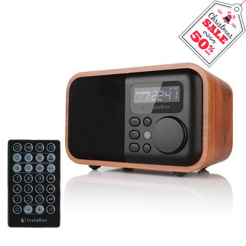 InstaBox i90 Wooden FM Clock Radio & Bluetooth Speaker [DISCONTINUED] - Radioddity