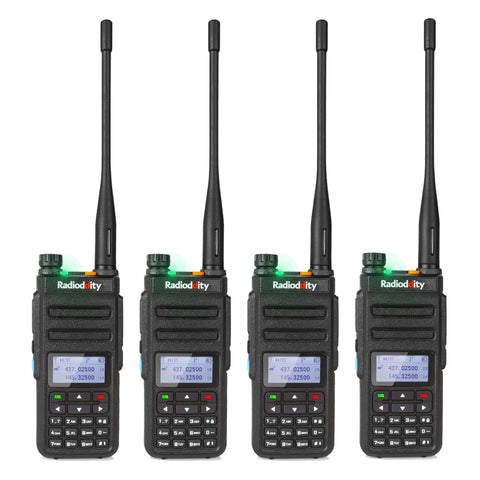 GD-77 DMR Dual Band Dual Time Slot Two Way Radio + Cable [4 Pack] - Radioddity