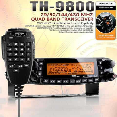 TYT TH-9800 Plus Quad Band Mobile Radio + Programming Cable - Radioddity