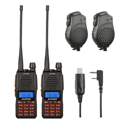 2 x BaoFeng GT-5TP Two-Way Radio + Programming Cable + 2 x Speaker