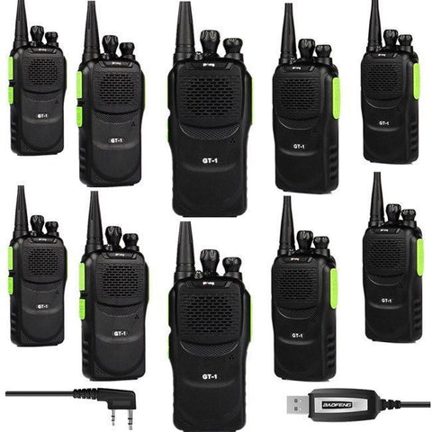 Baofeng GT-1 UHF Two-Way Radio [10 Pack + 1 Cable]